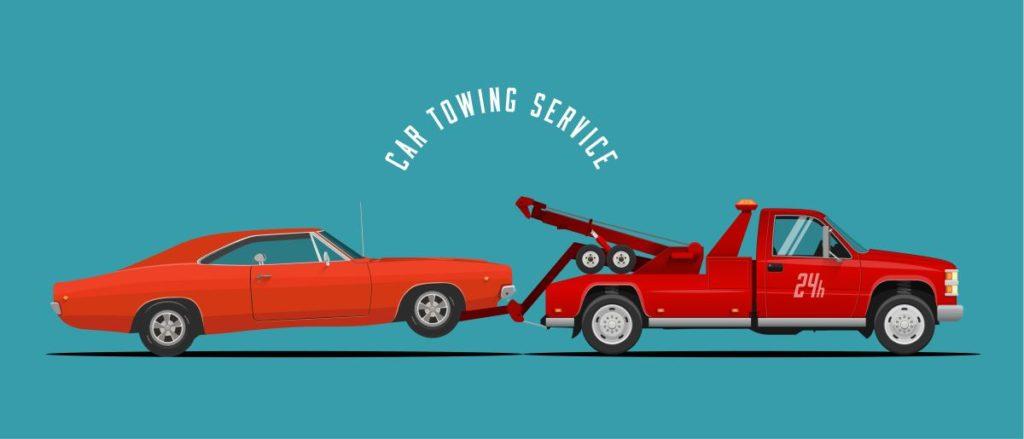 holowanie aut - rysunek wektorowy